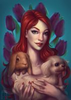 Portrait with pets by adivinadora