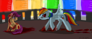 Rainbow Factory / Rainbow dash attacking Scootaloo by HannahTheArtistic