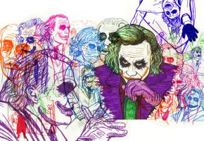 Heath Ledger as the Joker by GreenWhimsy