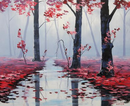 Misty pink Woodland by artsaus