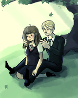 Hermione Granger and Draco Malfoy under a tree by Solitude6