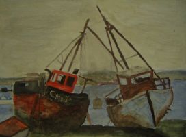 Seascape with boats. by HaanaArt