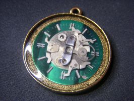 Green Clock Pendant by Goku-Kaji