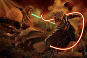 Luc Skywalker Vs Lumiya by Catsouille