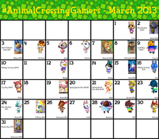 #AnimalCrossingGamers Calendar for March 2013 by TheStaticStalker