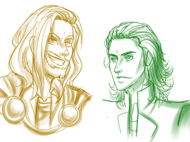 Thor Loki Doodles by Celestialess