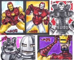 COMISH Iron Man sketch cards by jasinmartin