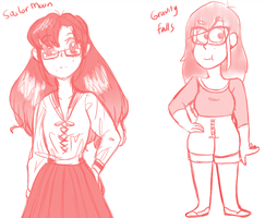 Style Practice: Sailor Moon '92 ~ Gravity Falls by marching-girl