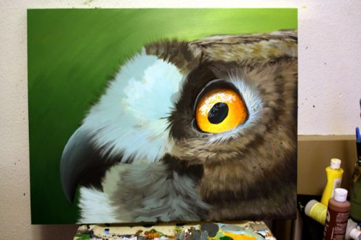 Eagle Owl Painting WIP - Acrylic on Canvas by shezaniftyblonde