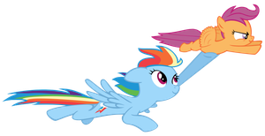 Rainbowdash and Scootaloo Flying Vector by LazySushi