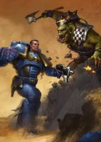 Space Marine Fighting Ork by GiddyGriffin