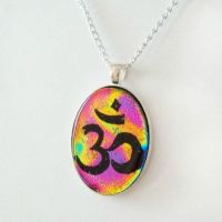 Rainbow Om Fused Dichroic Glass Pendant by HoneyCatJewelry