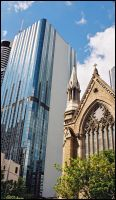 Church and Highrise by samurai-charger
