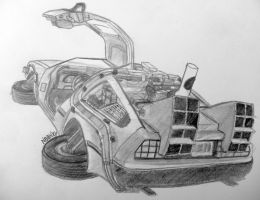 Flying DeLorean Sketch by otherdruid