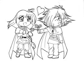 Slayers-Pink Flowers Line Art by WhiteMagicPriestess