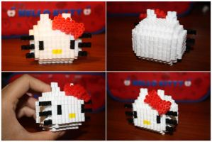 3D Perler Bead Hello Kitty by katrivsor