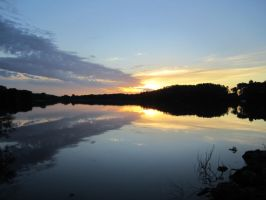 Sunset with water reflection 1 by Madsin