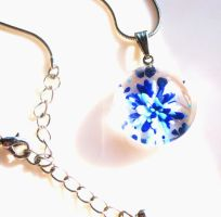 Steel Chain Sea Inspired Blue Glass Pendant Neckla by pestenkerani