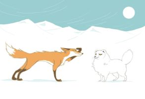 Foxes and Snow by Canvascope