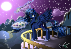 Commission: Luna Stargazing by jadenkaiba