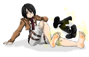 Mikasa Stinky Feet And Blush by amyroseater