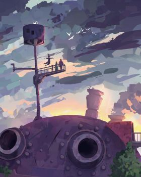 howl's moving castle sunset by spiridt