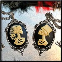 Skeleton Lady and Her Groom Cameo Necklaces by Horribell-Originals