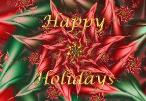 Fractal Poinsettia Holiday Greeting by wolfepaw