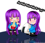 Kizoku Chibis Eating by pattycolindres