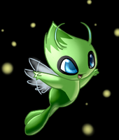 Celebi and the puff-stars by Mewitti