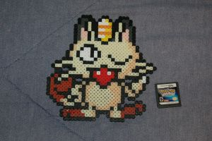 Meowth Perler by evilpika
