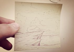 Post-It Note Pen Sketch by RedApropos