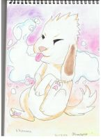 Akamaru bubble painting by ConkerTSquirrel