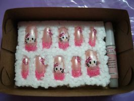 Hello Kitty Nail Art by kirarachan