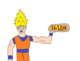 Goku with a pizza by Simpsonsfanatic33