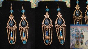 Bluebell Steampunk victorian earrings by assassin-kitty