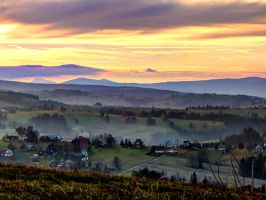 Autumn sunset in the mountains by matchieck