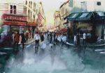 SOLD - The crowd - Watercolor by nicolasjolly