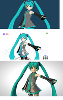 Miku rendered in diff programs by K-chan619