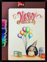 Pencil Drawing 33, A birthday card to my friends! by NasiK2424