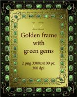 golden frame with green gems by Lyotta