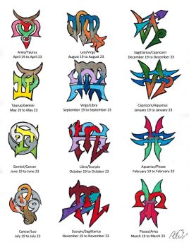 Zodiac Cusps Tattoo Designs, Colored by Wolfrunner6996