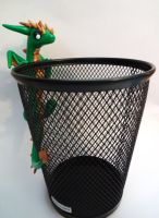 Green Dragon Pencil Holder by ByToothAndClaw