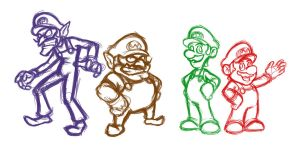 Mario Characters Sketches by RatchetMario