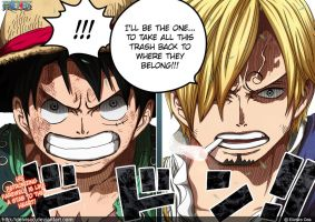 One Piece 843 - Luffy vs Sanji by DEIVISCC
