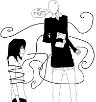 Jeff The Killer and Slender Man-The trouble maker. by MikaelBratLoni