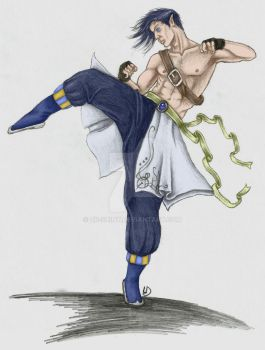 Martial Arts Monk (Coloured) by Dr-Shiny