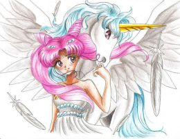 Chibi Usa and Pegasus by pegacorn
