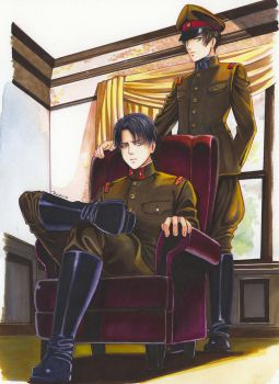 Levi and Eren in military uniform by Redwarrior3
