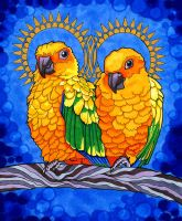 Loquacious Lorakeets by PaintMyWorldRainbow